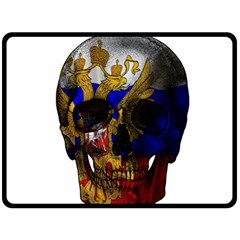 Russian Flag Skull Double Sided Fleece Blanket (large)  by Valentinaart