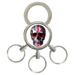 Uk Flag Skull 3 Ring Key Chains by Valentinaart