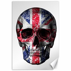 Uk Flag Skull Canvas 12  X 18   by Valentinaart