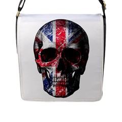 Uk Flag Skull Flap Messenger Bag (l)  by Valentinaart