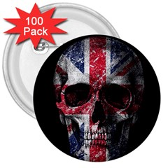 Uk Flag Skull 3  Buttons (100 Pack)  by Valentinaart