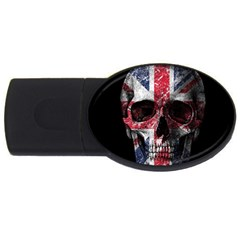 Uk Flag Skull Usb Flash Drive Oval (4 Gb) by Valentinaart