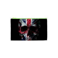 Uk Flag Skull Cosmetic Bag (xs) by Valentinaart