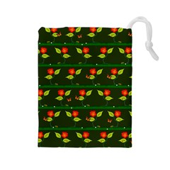 Plants And Flowers Drawstring Pouches (large)  by linceazul