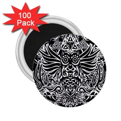 Tattoo Tribal Owl 2 25  Magnets (100 Pack)  by Valentinaart