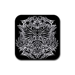 Tattoo Tribal Owl Rubber Coaster (square)  by Valentinaart