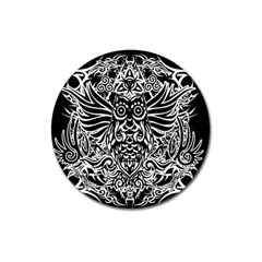 Tattoo Tribal Owl Magnet 3  (round) by Valentinaart