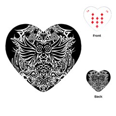 Tattoo Tribal Owl Playing Cards (heart)  by Valentinaart