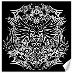 Tattoo Tribal Owl Canvas 16  X 16   by Valentinaart