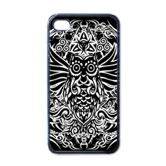 Tattoo Tribal Owl Apple Iphone 4 Case (black) by Valentinaart