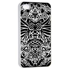 Tattoo Tribal Owl Apple Iphone 4/4s Seamless Case (white) by Valentinaart