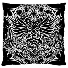 Tattoo Tribal Owl Large Cushion Case (one Side) by Valentinaart