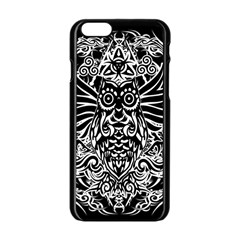 Tattoo Tribal Owl Apple Iphone 6/6s Black Enamel Case by Valentinaart