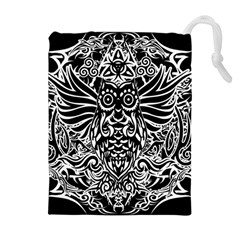 Tattoo Tribal Owl Drawstring Pouches (extra Large) by Valentinaart