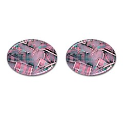Another Modern Moment Pink Cufflinks (oval) by MoreColorsinLife