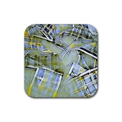 Another Modern Moment Yellow Rubber Coaster (square)  by MoreColorsinLife