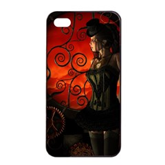 Steampunk, Wonderful Steampunk Lady In The Night Apple Iphone 4/4s Seamless Case (black) by FantasyWorld7