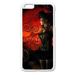 Steampunk, Wonderful Steampunk Lady In The Night Apple Iphone 6 Plus/6s Plus Enamel White Case by FantasyWorld7