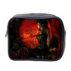 Steampunk, Wonderful Steampunk Lady In The Night Mini Toiletries Bag 2 Side by FantasyWorld7