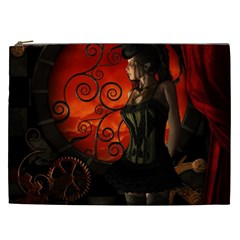 Steampunk, Wonderful Steampunk Lady In The Night Cosmetic Bag (xxl)  by FantasyWorld7