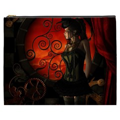 Steampunk, Wonderful Steampunk Lady In The Night Cosmetic Bag (xxxl)  by FantasyWorld7