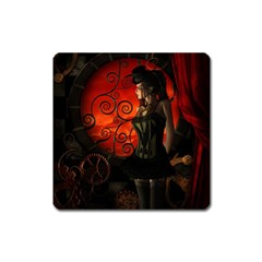 Steampunk, Wonderful Steampunk Lady In The Night Square Magnet by FantasyWorld7