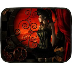 Steampunk, Wonderful Steampunk Lady In The Night Double Sided Fleece Blanket (mini)  by FantasyWorld7