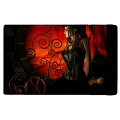 Steampunk, Wonderful Steampunk Lady In The Night Apple Ipad 3/4 Flip Case by FantasyWorld7