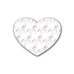 Unicorn Pattern Rubber Coaster (heart)  by paulaoliveiradesign