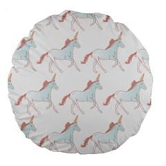 Unicorn Pattern Large 18  Premium Round Cushions by paulaoliveiradesign