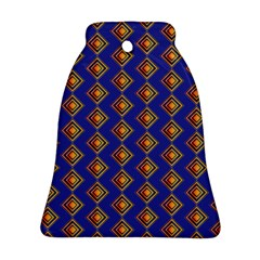 Blue Geometric Losangle Pattern Bell Ornament (two Sides) by paulaoliveiradesign