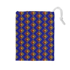 Blue Geometric Losangle Pattern Drawstring Pouches (large)  by paulaoliveiradesign