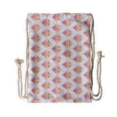 Geometric Losangle Pattern Rosy Drawstring Bag (small) by paulaoliveiradesign
