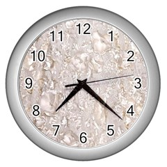 Off White Lace Pattern Wall Clocks (silver)  by paulaoliveiradesign