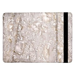 Off White Lace Pattern Samsung Galaxy Tab Pro 12 2  Flip Case by paulaoliveiradesign
