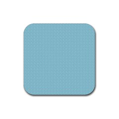 Blue Pattern Rubber Coaster (square)  by paulaoliveiradesign