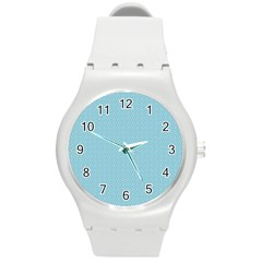Blue Pattern Round Plastic Sport Watch (m) by paulaoliveiradesign