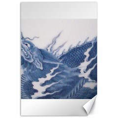 Blue Chinese Dragon Canvas 24  X 36  by paulaoliveiradesign
