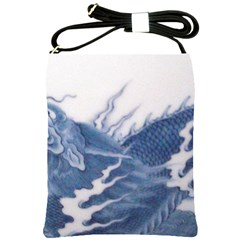 Blue Chinese Dragon Shoulder Sling Bags by paulaoliveiradesign