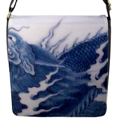 Blue Chinese Dragon Flap Messenger Bag (s) by paulaoliveiradesign