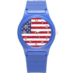 Flag Of The United States America Round Plastic Sport Watch (s) by paulaoliveiradesign