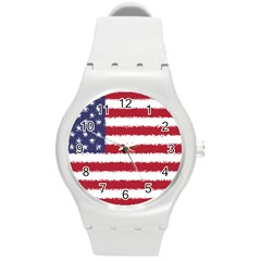 Flag Of The United States America Round Plastic Sport Watch (m) by paulaoliveiradesign