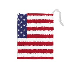 Flag Of The United States America Drawstring Pouches (medium)  by paulaoliveiradesign
