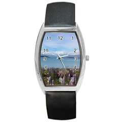 Lake Tekapo New Zealand Landscape Photography Barrel Style Metal Watch by paulaoliveiradesign
