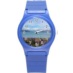 Lake Tekapo New Zealand Landscape Photography Round Plastic Sport Watch (s) by paulaoliveiradesign