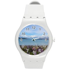 Lake Tekapo New Zealand Landscape Photography Round Plastic Sport Watch (m) by paulaoliveiradesign