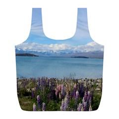 Lake Tekapo New Zealand Landscape Photography Full Print Recycle Bags (l)  by paulaoliveiradesign