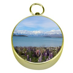Lake Tekapo New Zealand Landscape Photography Gold Compasses by paulaoliveiradesign