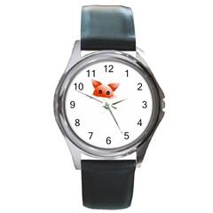 Animal Image Fox Round Metal Watch