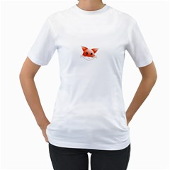 Animal Image Fox Women s T Shirt (white) (two Sided)